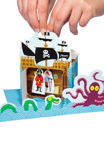 Pirates Paper Theater - DIY Paper Craft Kit - Puppets - Paper Toy - Kids Sea - 3D Model Paper Figure