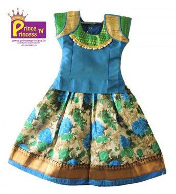 94eaea7d9a462 Kids Beautiful Traditional   Ethnic Floral design Pattu Pavadai Langa