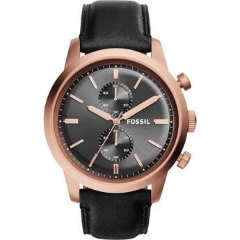 Fossil Townsman Mens Watch Rose Gold Black Leather