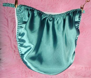 976ea04dd87d VTG style Joe Boxer like ladies shiny high gloss ALL Satin no cotton Teal  green New
