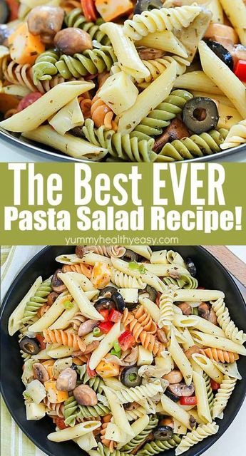 This unbelievable Best Ever Pasta Salad will be the hit of the picnic! Full of pasta, cheeses, pepperoni, olives and veggies and topped with a homemade dressing - this will be an instant potluck favorite! #pastasalad #recipe #pasta #salad #summertime #easyrecipe #potluck #picnic