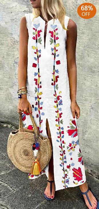Bohemian Floral Print Maxi Dress