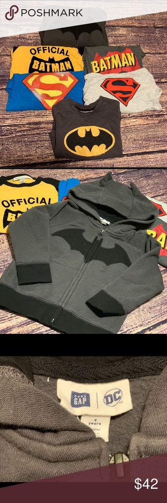 Baby Gap Junk food size 4years superhero lot Baby Gap/Junk food lot all 4 years   1- Baby Gap DC Gray Batman hoodie with bat 🦇 ears (no cape)  2-Baby Gap DC blue Superman long sleeved tee (no cape)  3- Baby Gap Junk Food Gray long sleeved Batman tee (no cape)  4- Color Block Superman long sleeved hoodie tee (not Gap)  5- Baby Gap DC heather gray with red/ yellow Batman logo 6-Baby Gap Junk Food black and yellow Batman baseball style tee  Let me know if you have any questions   Check out my othe