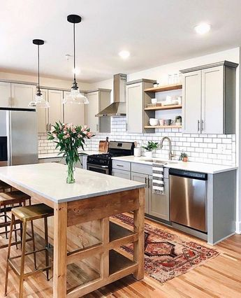 adorable grey and wood kitchen