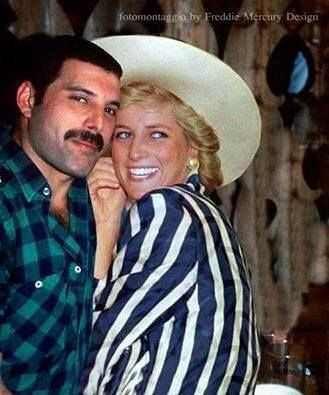 Freddie Mercury sneaking Princess Diana into a gay bar. 1988