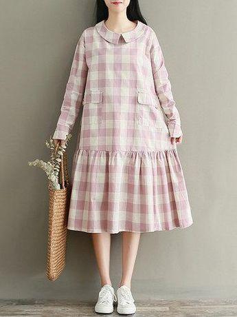e9f6a22da942 #Valentines #AdoreWe #PopJulia - #PopJulia Flounce Girly Long Sleeve  Checkered/Plaid