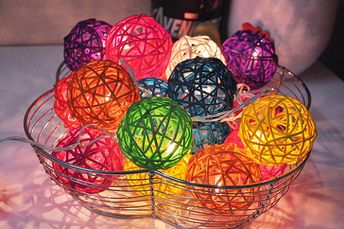 Colourful Rattan ball string lights for Patio,Wedding,Party and Decoration (20 bulbs)