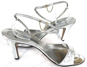 7b42ba24028 Details about VTG Maserati Crystal Chain Silver Metallic Leather Sandals Sz  9.5N Made In Italy
