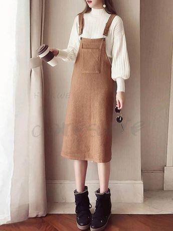 a73f5997bc35f ファッション通販 #Fashion Doresuweニット長袖セーターサスペンダーおしゃれレディース韓国風大人可愛い