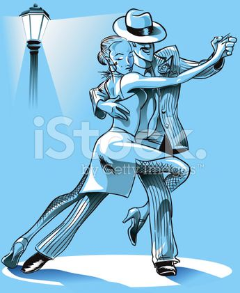 Couple dancing th Tango on a blue atmosphere.