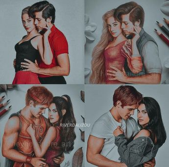 Repinning because omg these are amazing drawings😍 that picture in the upper left corner always reminds me of Grease (Sandy and Danny)