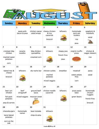 sugust menu plan budget