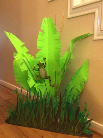 VBS Decor - from Dollar Tree poster board, pool noodles (one partially split to support leaves, yard art and garden stakes.