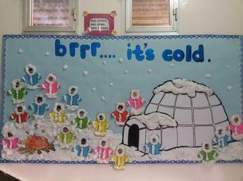 Winter board with Eskimos and igloo