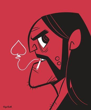 Diego Riselli@diegoriselli Instagram Lemmy #lemmykilmister #lemmy #motorhead #rockandroll #aceofspades #cartoon #cartoonmodern…」