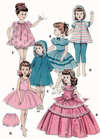 "Vtg Doll Dress Coat Hat Pattern 20/"" 21/"" 22/"" Toni Cissy Sweet Sue Miss Revlon"