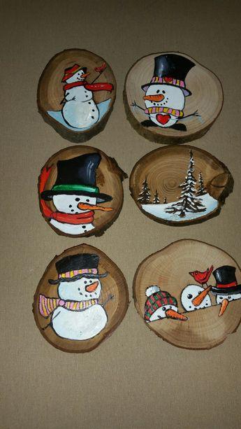 Weihnachtsdekoration Schneemann winterwonderland christmas Ornament wood cookie snowman