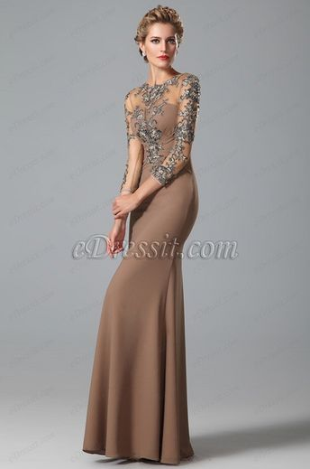 63f40865595 Sleeves Lace Applique Mother of the Bride Gown (26150820)