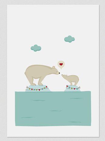 Illustration, Print, Polar Love, Tutticonfetti, Wall art, Hanging wall, Art decor, Artwork, Printed art, Decor home, Gift idea, Sweet Home