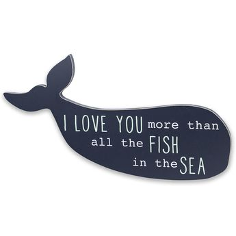 "This fun friend from the deep by designer Wendy Bellisimo has a whale of a tale to tell, spelling out ""I LOVE YOU more than all the FISH in the SEA"" in aqua and white letters on a navy ground. This easy-hang, whale wall art adds a cheerful accent to any nautical-themed nursery and works to perfection with bedding and accessories in Wendy's Landon Collection, sold separately. Beautiful packaging makes it a great gift item.<br><br>The Wendy Bellissimo Landon Whale &quo..."