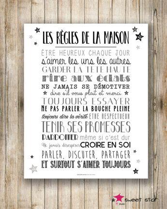 Affiche Format XXL - Les règles de la maison - 40x50cm - Noir&Blanc