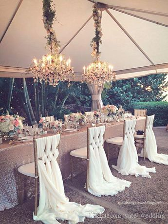 2018 Romantic Wedding Chair Sashes White Ivory Celebration Birthday Party Event Chiavari Chair Decor Wedding Chair Sashes Bows 200*65 CM