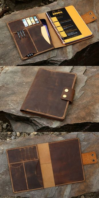 """This leather portfolio is designed specially for A5+ size RHODIA wire bound NOTEBOOK ( 16.5 cm x 21 cm 