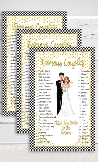 gold bridal shower game famous couples black checks celebrity couples engagement