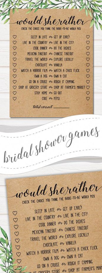 would she rather bridal shower game bridal shower game wedding
