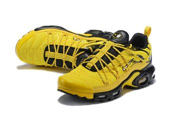 promo code 5ffdc bdc34 Nike Air Max Plus TN SE Black Yellow Men s Running Shoes