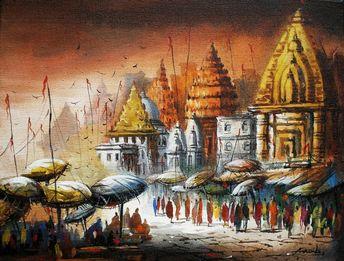 The artist, Ananda Das, has painted varanasi ghat in the painting.