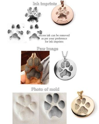 Custom actual pets paw or nose print personalized keychain or pendant on solid .925 sterling silver 1 inch disc - dog or cat memorial charm