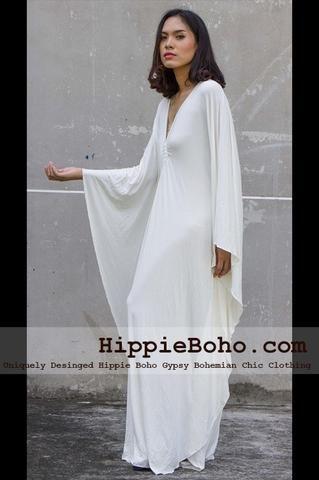 8ccac09e721 No.010 - Size XS-7X Hippie Boho Caftan White Pagan Greek K