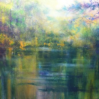 Jonathan Trim - Autumn Reflection on the River abstract landscape painting