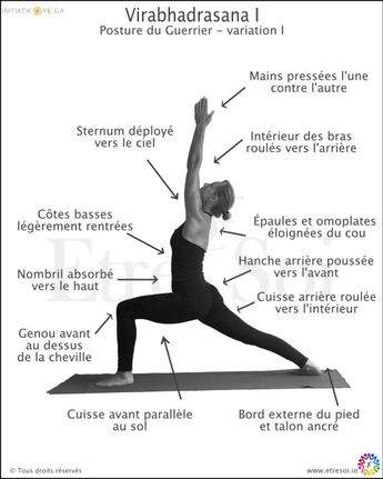 yoga - posture en français - virabhadrasana I - indications - Être Soi