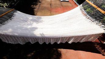 Hammock Off White Patio Furniture Chair Double Crochet Cotton Wood Home & Living Decor Indoor Outdoor Nicaraguan Made Premium Macrame