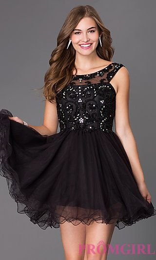 92e261ed9d0 Short Elizabeth K Beaded Prom Dress at PromGirl.com