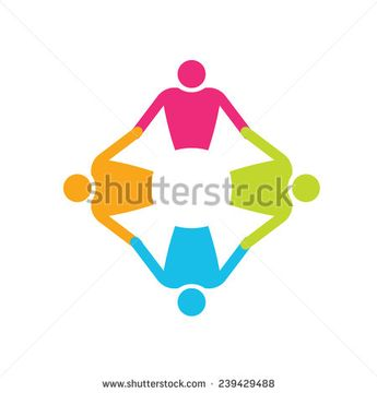 Teamwork People logo in circle 4. Holding hands. Vector icon