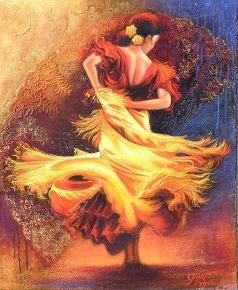 The Beautiful Flamenco dance Artwork from India,Punjab.   #Sikh #PunjabArt #FlamencoDance # IndianPainting