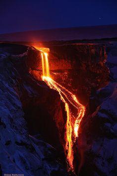 Lavafall into Hvannargil, Iceland