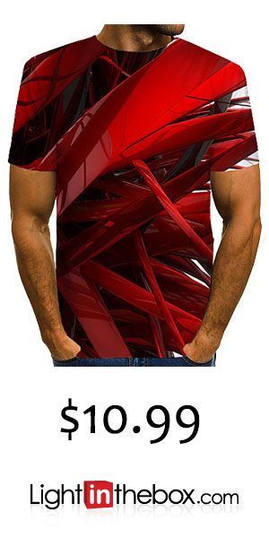 Men's Daily Wear Club Street chic / Exaggerated EU / US Size T-shirt - Color Block / 3D / Graphic Print Round Neck Red / Short Sleeve