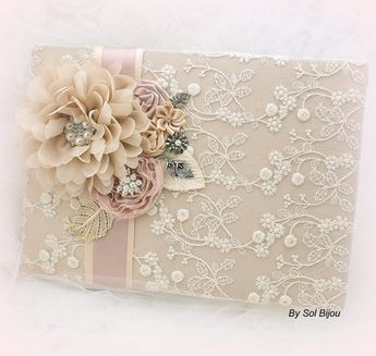 Large Wedding Guest Book and Signng Pen Set Guestbook by SolBijou