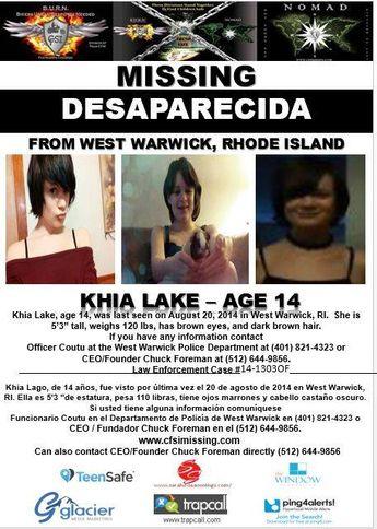 8/20/2014: Khia Lake, age 14, is #missing from West Warwick, Rhode Island.