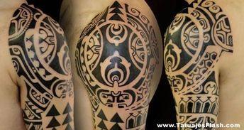 Black Polynesian Maori Half Sleeve Tattoo | Tattoobite.com #Marquesantattoos