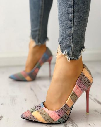Contrast Color Pointed Toe Thin Heels