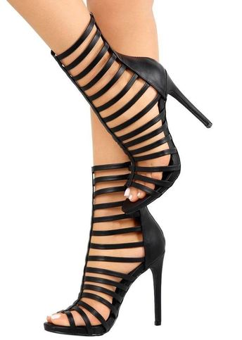 ead26a0f9779 Black Strappy Caged Open Toe Gladiator Sandals Booties Exotic Heels  US6-10  H193