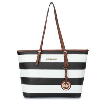 a69f37beadc9 Michael Kors Jet Set Striped Travel Medium Black White Totes Will Give You  Most Wonderful Feeling