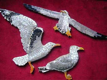 Seagulls mosaic mounted on wood for a project in NYC, claudia Nagy