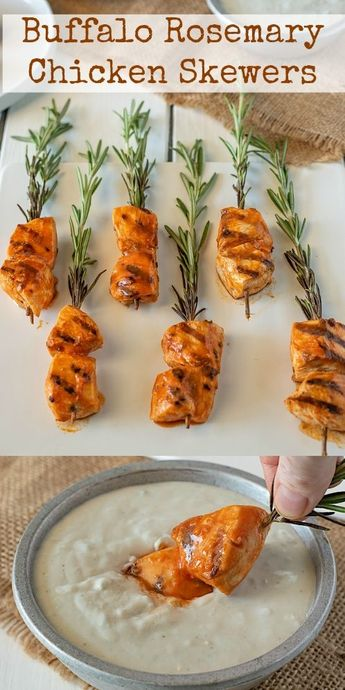 These Buffalo Rosemary Chicken Skewers are marinated in buffalo rosemary sauce and skewered onto fresh rosemary sprigs for a pretty presentation.  Serve with delicious blue cheese dipping sauce. #buffalo #rosemary #chickenskewers