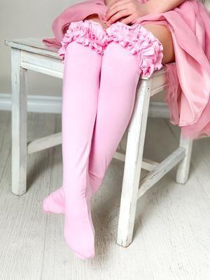 Girls Ruffle Knee High Socks / Pink